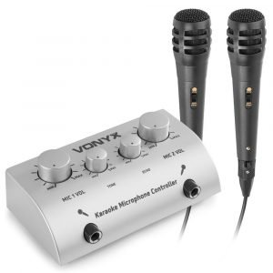 Vonyx AV430 karaoke set met 2x karaoke microfoon en mixer - Zilver